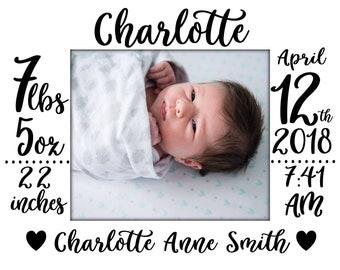 Birth Statistics Digital Download/Customizable/Personalized/Photo + Stats