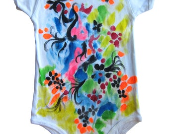 Flower Meadow Infant Baby Rib Short Slv One-Piece