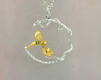 Sterling Silver Bird Pendant | Flower Necklace | Hmmingbird |