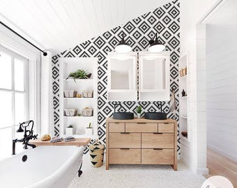 Scandinavian Pattern Removable Wallpaper / Geometric Self Adhesive or Traditional Wallpaper
