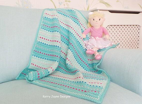 Crochet Baby Blanket Pattern Dinky Dot pattern Quick baby