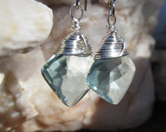 Pale Blue Faceted Crystal Earrings~Silver Filled Wire Wrap~For Pierced Ears