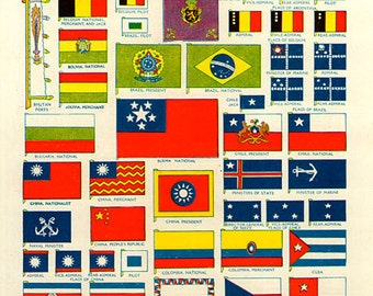 WORLD FLAGS PRINT 1950s 6972 illustrations lithograph paper print ephemeral upcycle recycle ephemera old mid century
