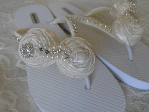 Flowers Flops Flip Wedding Flops Ivory Bridesmaids Bridal Rolled Flip Flops Sandals Flip A5RqRxSFzw