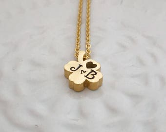 Four leaf clover gold personalized hand stamped necklace shamrock charm