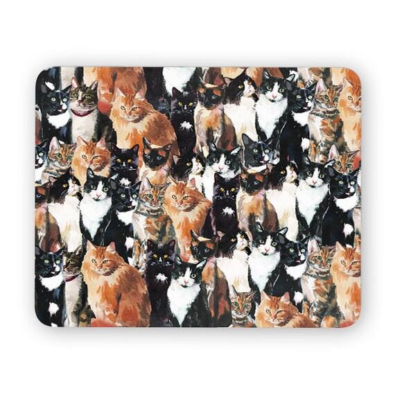 Cat pattern mouse pad - mouse mat - desktop mouse mat - funny mouse mat - computer pad 3P013