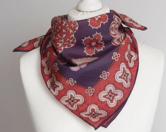 "vintage Square scarf, polyester scarf, fabric women scarf shawl 68cm / 26"" ornamental equestrian scarf, purple red floral"