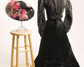 Victorian 1880/1890's Walking Suit Black Duchess Silk Satin 2Pc.Outfit size 8 - item 129, Victorians