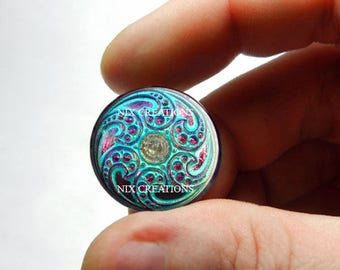 Purple Blue Swirl Czech Button Design 25mm 20mm 16mm 12mm 10mm or 8mm Glass Cabochon  - for Jewelry and Pendant Making