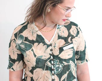 1980s floral green blouse