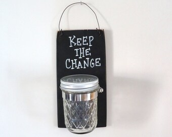 Laundry room decor, change bank, coin bank, mason jar, organizer,
