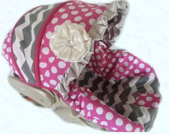 Suzanna~Grey Chevron/Hot Pink Polka Dot Infant Cover Set Infant car seat cover 5 piece set