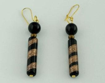 Fun Whimsical Onyx Enamel Spiral Dangle Earrings