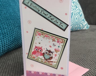 Handmade Cute Owl 'Birthday Tweet' Birthday Card