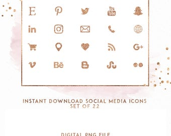 Rose GoldInstant Download Social Media Icons, ( ICON4 )