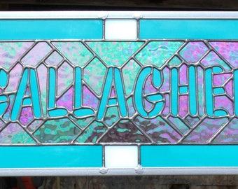 Prénom personnalisé signe, Stained Glass Window Panel, artiste pour la location