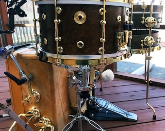 Pancake toms and revival snares - walnut/brass hardware
