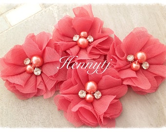 4 pcs Aubrey WATERMELON Red - Soft Chiffon with pearls and rhinestones Mesh Layered Small Fabric Flowers, Hair accessories