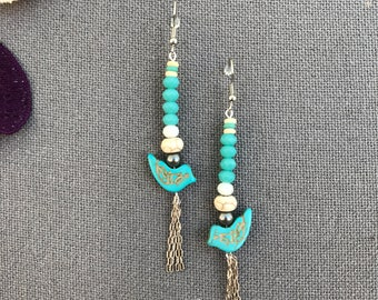 Turquoise Dove Shoulder Duster Earrings, Upcycled Jewelry, Blue Statement Earrings