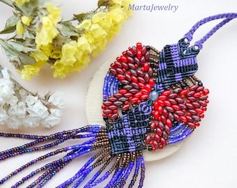 Red purple fringe, butterfly, macrame necklace, bohemian, boho chic, micro-macrame jewelry, extra long, dangle, tassel pendant, beadwork