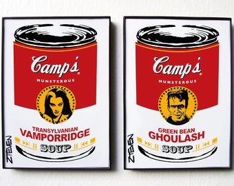 Lily and Herman Munster Pop Art Soup set of 2 by Zteven