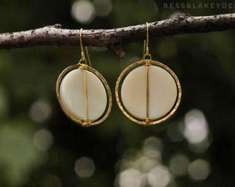 Mother-of-Pearl and Hammered Brass Earrings
