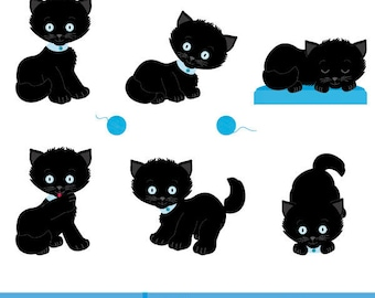 Black  kittens clipart, Cat Clipart, Children's illustration, children's illustration black  kittens, vector illustration black  kittens