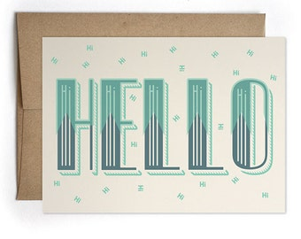 Thinking of You Cards, Card for Him, Modern Card for Him or For Her, Best Friend Card - Hello Greeting Card