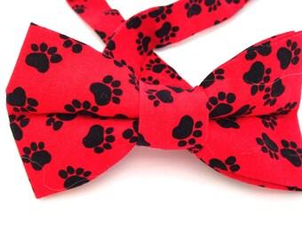 Red dog paw bow tie, Bow tie, dog print bow tie, paw print bow tie, dog paw bow tie, red dog paw bow tie, red paw bow tie, dog paw bow tie,