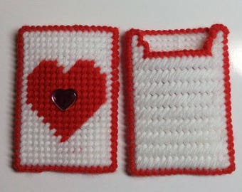 Red Valentine Heart Gift Card Holders - Set of 4 in Plastic Canvas