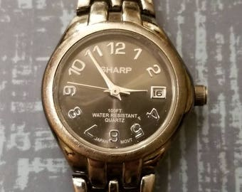 SHARP Ladies Wristwatch, Gun Metal Color, Ladies Battery Operated Watch, Chain Bracel at, Designer, 100 Ft Water Resistant, Great Condition