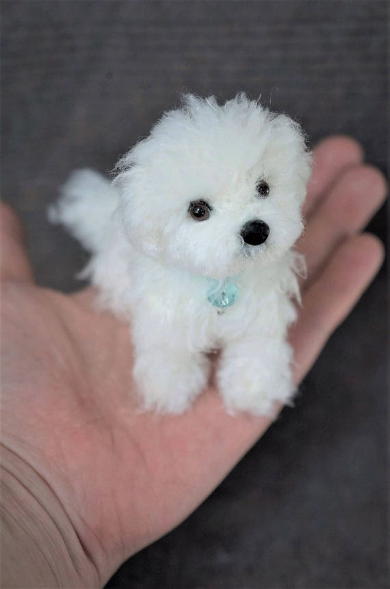 Needle Felted Maltese Dog Wool Maltipoo Puppy Felt Animal