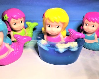 Mermaid Soap-Girls Soap-Kids Soap-Soap with Toy-Marine Soap-Siren Soap-Birthday Party Favor-Sea Soap-Ocean Soap