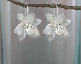 Orange Blossom Earrings in Sterling Silver / Satin / Ear Threads / Handcrafted / Flower Earrings