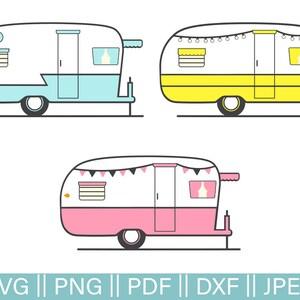 Retro Rv Cut Files, SVG Camper Pack, SVG Cutting File, Retro Trailer Cut File, Glamping Cut Files, Retro Camper, PNG, Trailer Clip Art, Dxf