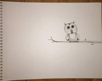 Original charcoal and pencil-owl on a limb
