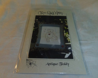 Embroidery Needlework Pattern, Antique Teddy Pillow by Olde Grey Hare