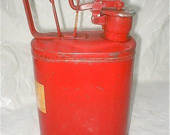 Vintage Protecto Seal Gas Can - One Gallon - No. One Red Metal Sealing gas Storage Garage Gasoline - Lawn Mower Fuel Storage