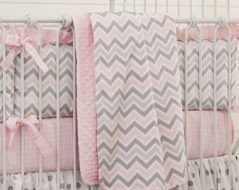 Girl Baby Crib Bedding: Pink and Gray Chevron Crib Blanket by Carousel Designs