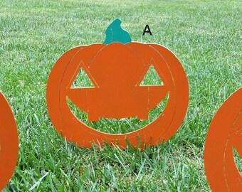 "14"" Steel Jack-O-Lantern - Halloween Yard Decoration"