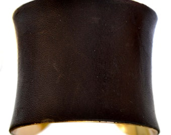 Cuff Bracelet  in Espresso Brown Leather (Gold Lined) - by UNEARTHED