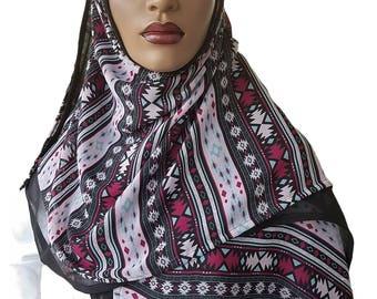 D'ble Hijab Scarf™ Attached Scarves Hijab Chiffon Aztec Hijabi Style Designer Duo Hijab Scarves Rectangle Hijab Medium Weight Hijab Handmade