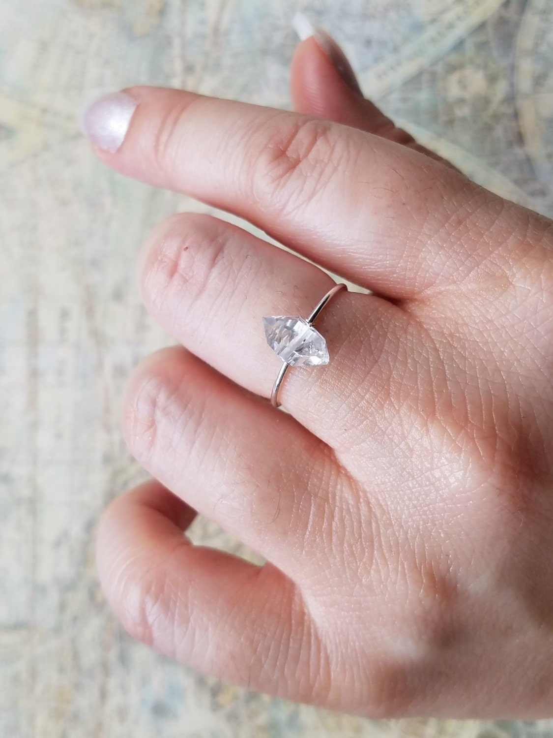 Herkimer Diamond Ring Dainty Ring Dainty Silver Ring Small