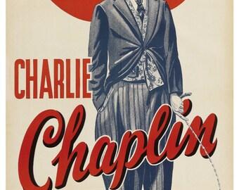 Vintage Charlie Chaplin Poster Print