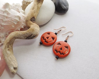 Orange Pumpkin Earrings, Jack-O-Lantern Earrings, Handmade Beaded Earrings, Gemstone Earrings, Rustic Halloween Earrings, Southwest Earrings
