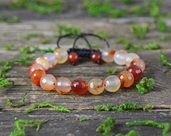 Carnelian Bracelet, Adjustable Bracelet, Gemstone Jewerly, Faceted Carnelian Stone, Healing Crystal, Bohemian Bracelet, Beaded Bracelet