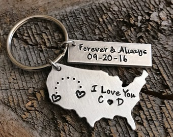 Long Distance Relationship gift Personalized USA Keychain State keychain Long Distance Girlfriend Gift Boyfriend Gift