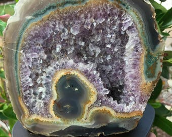 Amethyst Geode Decor Amethyst and Agate Display Large Amethyst Geode Amethyst Crystal Brazilian Amethyst Crystal Decor Display Geode