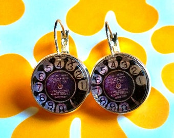 Rotary telephone cabochon earrings- 16mm