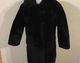 Soviet faux fur black coat